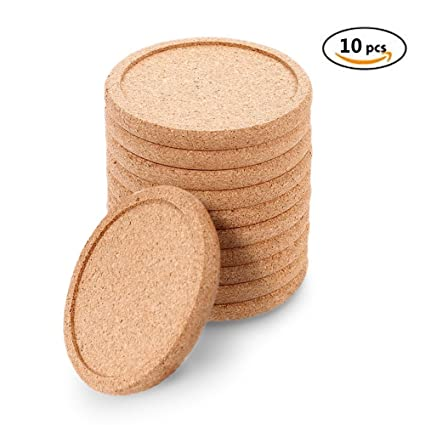 Natural Round Cork Coasters For Drinks Absorbent Set 10   Protects Tabletop  And Furniture For Home