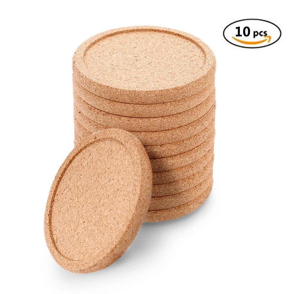 Natural Round Cork Coasters for drinks absorbent Set 10 - Protects Tabletop and Furniture for Home Bar