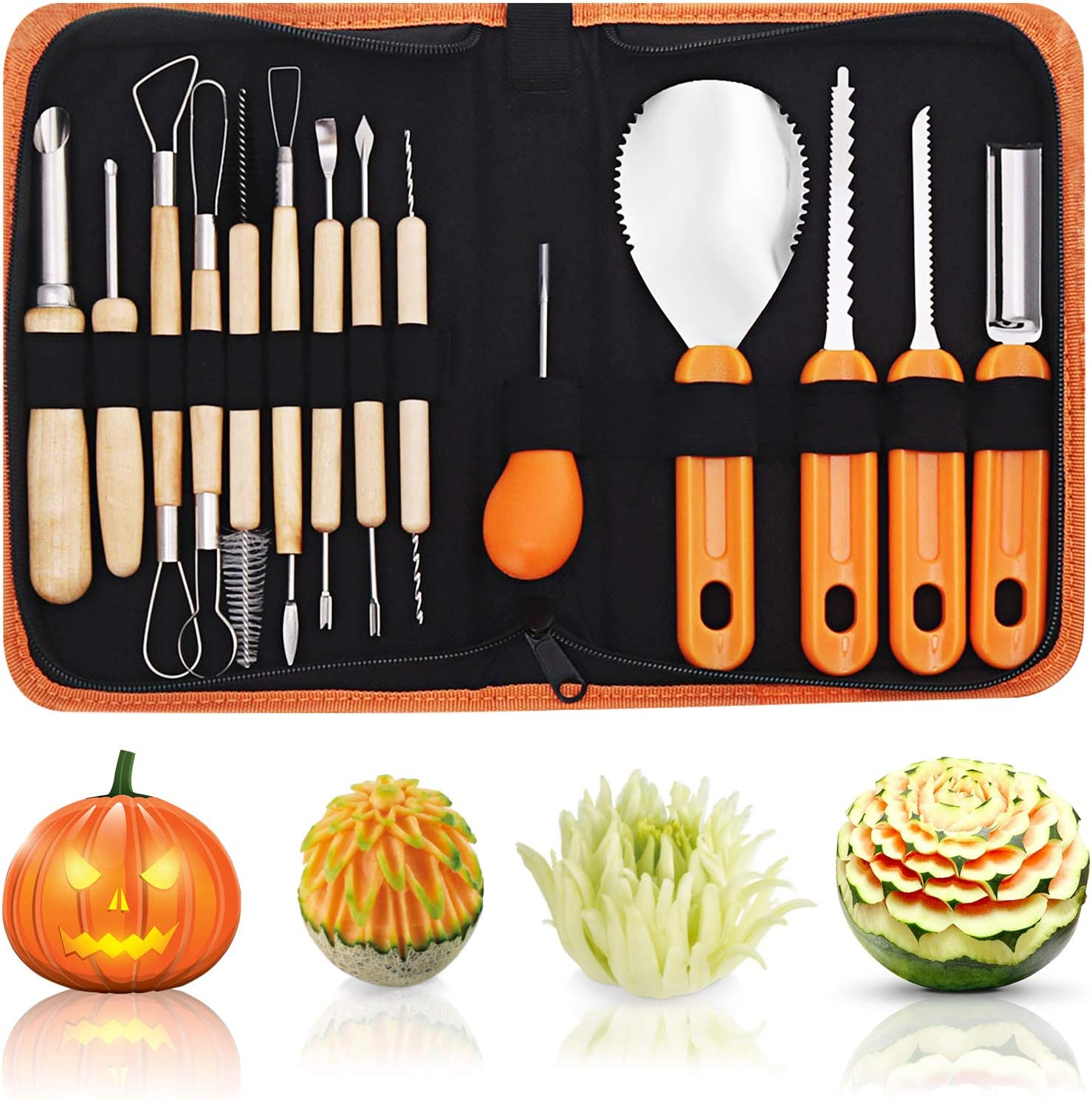 Culinary Carving Tool Kit for Fruit Vegetable, NASUM Pumpkin Carving Set 14 Pieces, Professional Pumpkin Cutting accessories Tools,Soft Grip Rubber Handle Stainless Steel Carving Kit