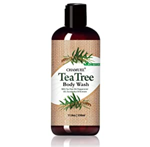Chamuel Tea Tree Body Wash – Deep Cleans, Helps Jock Itch, Acne, Athlete's Foot, Toenails, Body Odor & More. Naturally Scented - Soothes Itching & Promotes Healthy Skin (11.8oz)