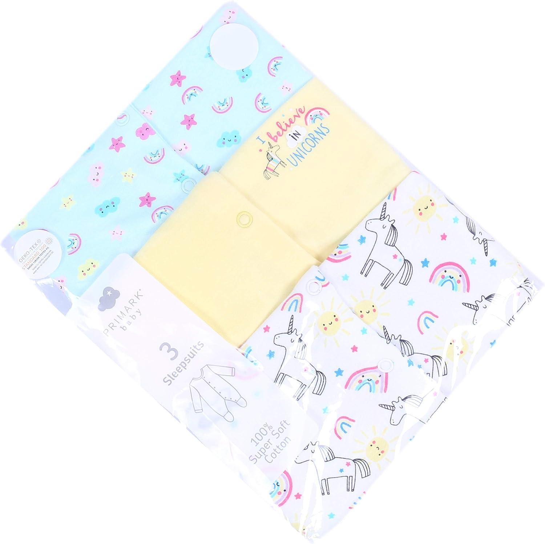 PRIMARK Oeko-Tex 3 x White//Yellow//Mint Blue Sleepsuits for Baby Girls Unicorns Design