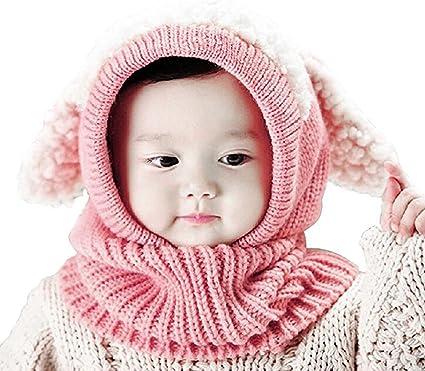 Bébé Tricot Chapeau Bonnet écharpe enfant garçon fille hiver épais Foulard Chapeau Set