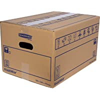 SmoothMove Heavy Duty Double Wall Cardboard Moving and Storage Boxes with Handles - 39 Litre, 26 x 32 x 47 cm (10 Pack)