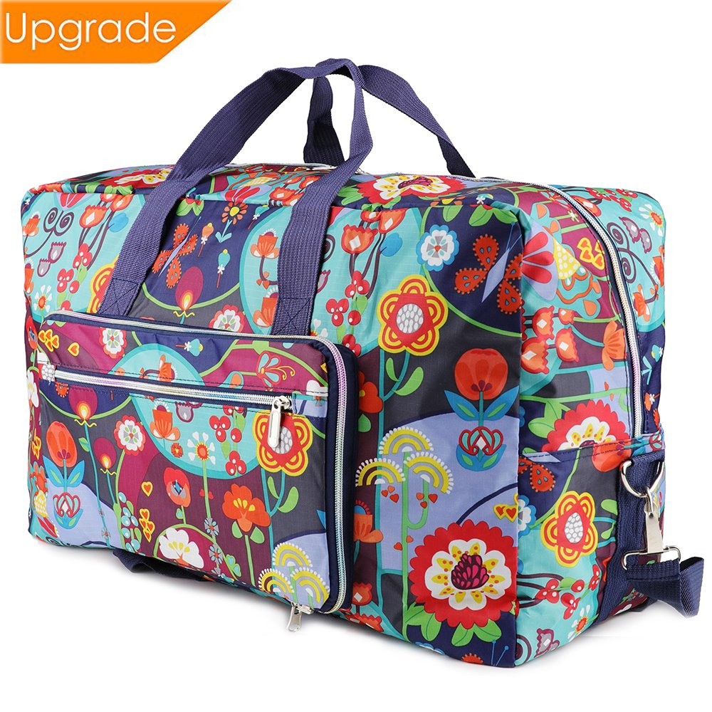 Fordicher Women Nylon Foldable Large Travel Duffel Bag Travel Tote Luggage Bag for Vacation (Flower)