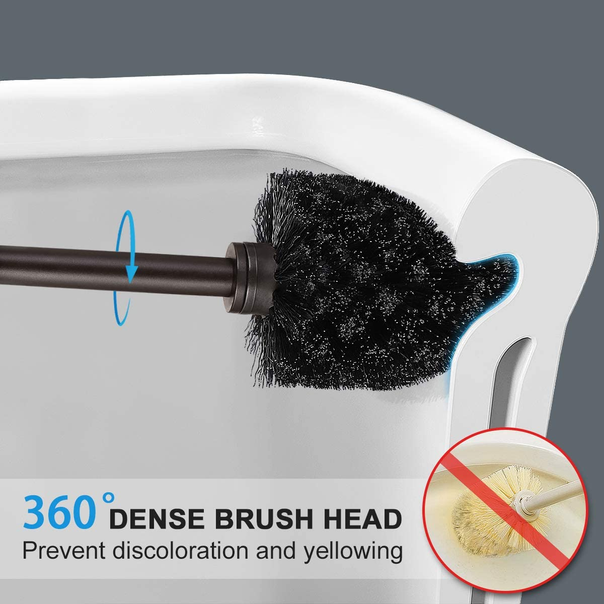 Toilet Brush and Holder 2 Pack Bathroom Toilet Brush Deep Cleaning Toilet Bowl Brush Set (Venetian Bronze)