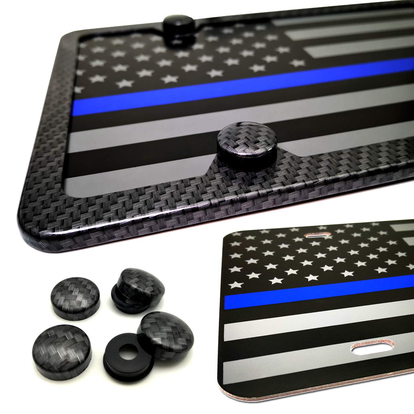 Anti-Rattle Foam Pad Matte Black Thin Blue Line Police Aluminum Composite Front Plate,Car Decoration License Plate with Stainless Steel License Plate Screws Caps Aootf American Flag License Plate