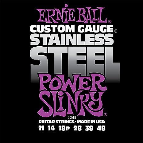 Cuerdas para guitarra eléctrica tejida de acero inoxidable Slinky de Ernie Ball Power - calibre 11