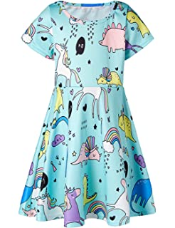815ea24636ad RAISEVERN Toddler Girl's Dress 3D Print Short Sleeve Swing Skirt Casual Kids  Party Dress