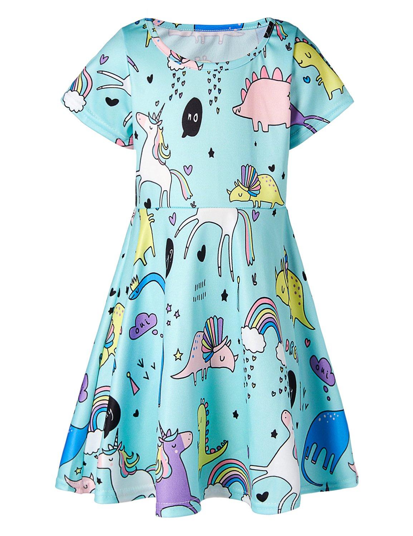 RAISEVERN Cute Animal World Printed Summer Clothes Basic Dresses Girls 6-7 Years
