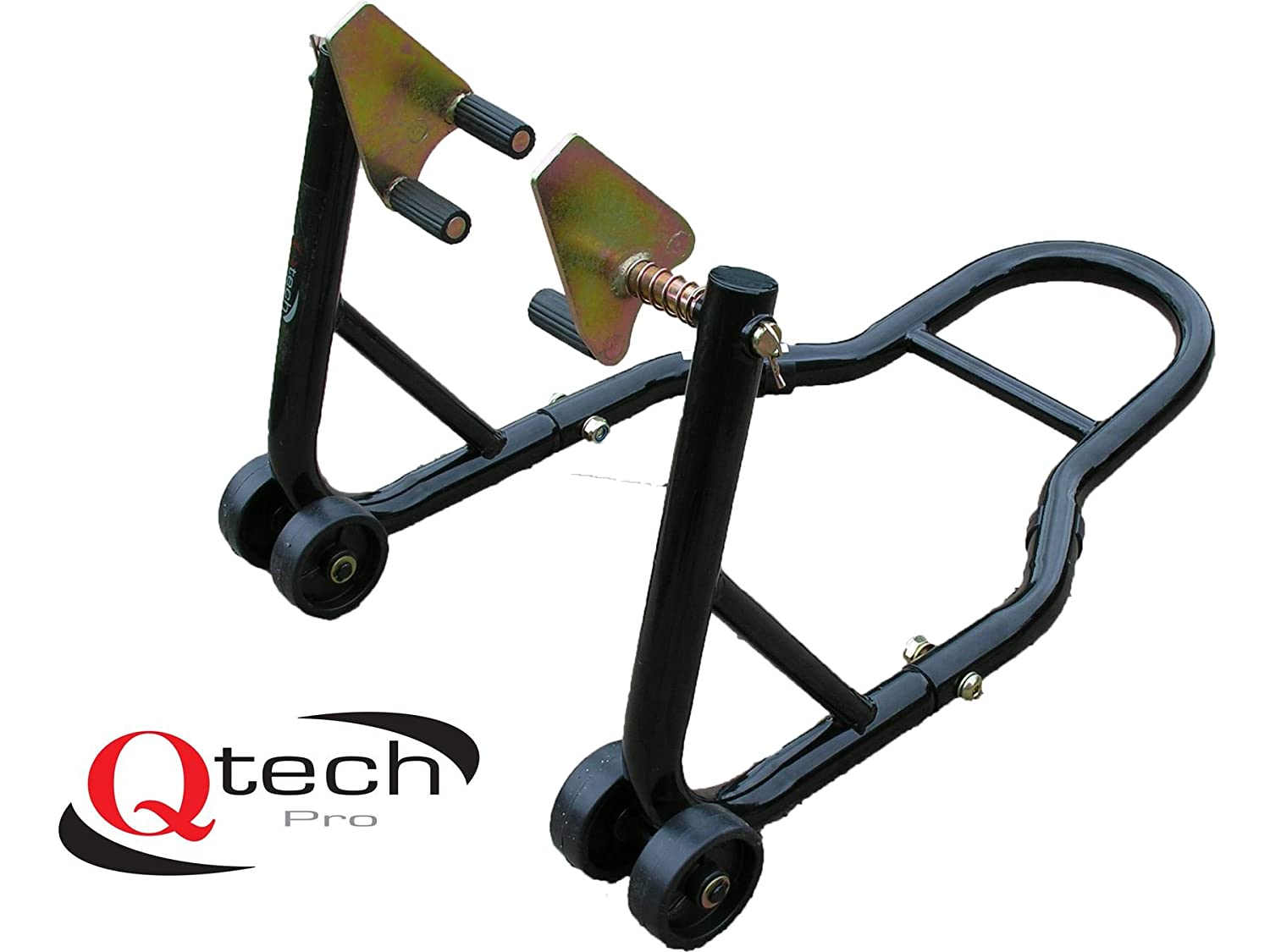 Qtech Motorcycle Motorbike Front Wheel Fork Universal Lift Paddock STAND with 200kg Lift Capacity Headstock Head Track Head Lift