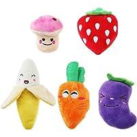 UEETEK Juguetes para Perros pequeños, 5 Piezas, para Frutas y Verduras, Peluche, Cachorro, Perro, Juguetes