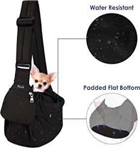 Lukovee Pet Sling Carrier, Bottom Supported Dog Papoose Hand Free Puppy Cat Carry Bag Adjustable Padded Shoulder Strap and Bag Opening Front Zipper Pocket Safety Belt for Small Dogs (Water-Resistant)