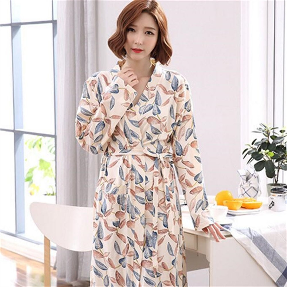 Soft Cozy Ladies Girls Cotton Bathrobe Long Sleeves Leaves Pattern Pajamas Cardigan Bathrobe Bathrobe for Women (Size   XL)
