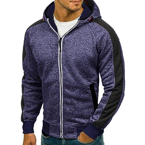 Herren Kapuzenjacke Jacke mit Reißverschluss,Hevoiok Mode Casual Herbst  Winter Langarm Patchwork Hoodie Männer Pullover 9d6eba2143