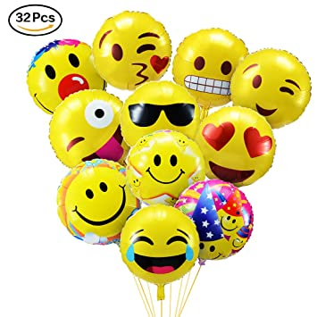 Povkeever Emoji Party Balloons 18 Inch Foil Helium Balloons For