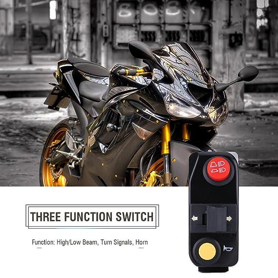 Automatic Return Button 7//8 22mm Handlebar Control Push Button Switch Weatherproof Aluminum Alloy Motorcycle Handlebar Mount Switch Button Headlight Brake Fog Lights ON//OFF