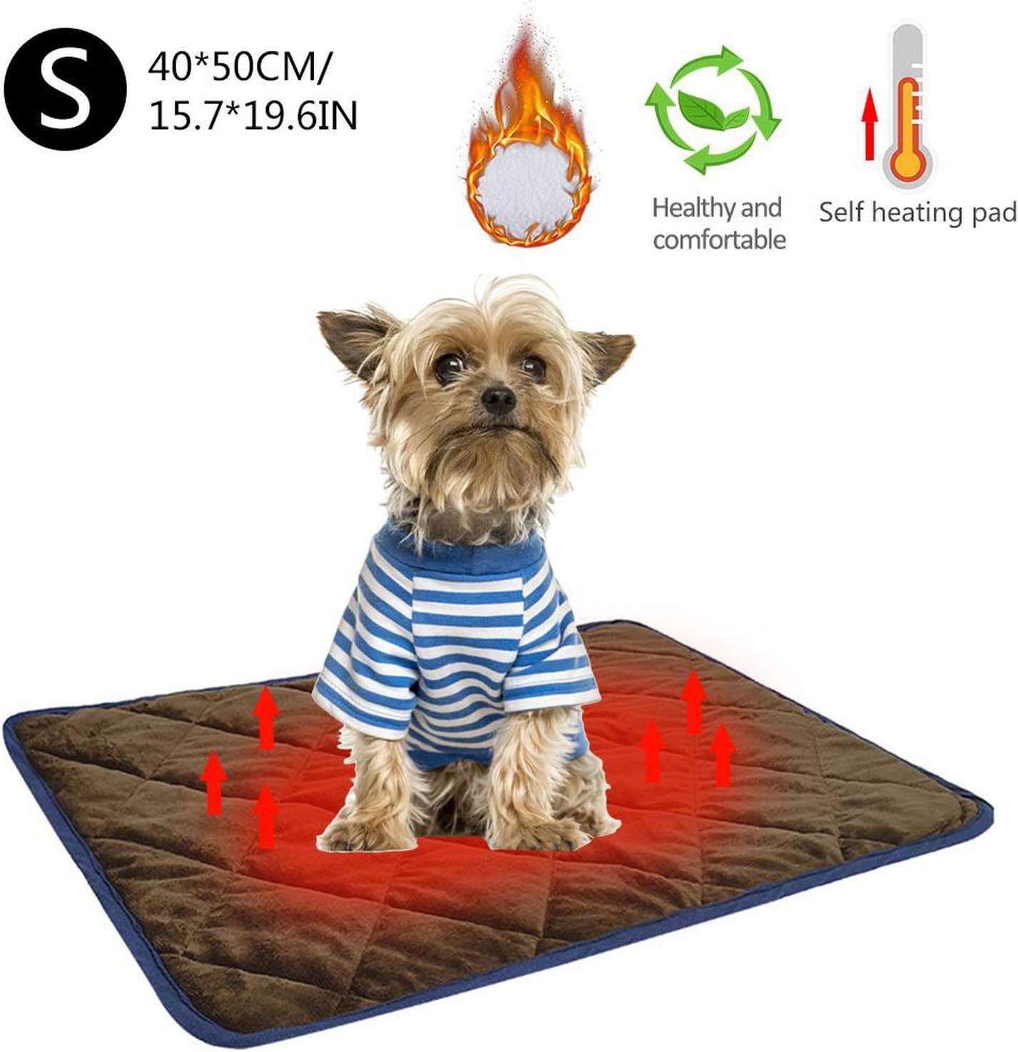 Gato Perro caliente mascotas Cuenta Calefacción Pads Invierno Manta suave y cómodo para mascotas térmicas Mats lavable almohada para los sillones Plantas camas para mascotas, Brown, L 58x88cm