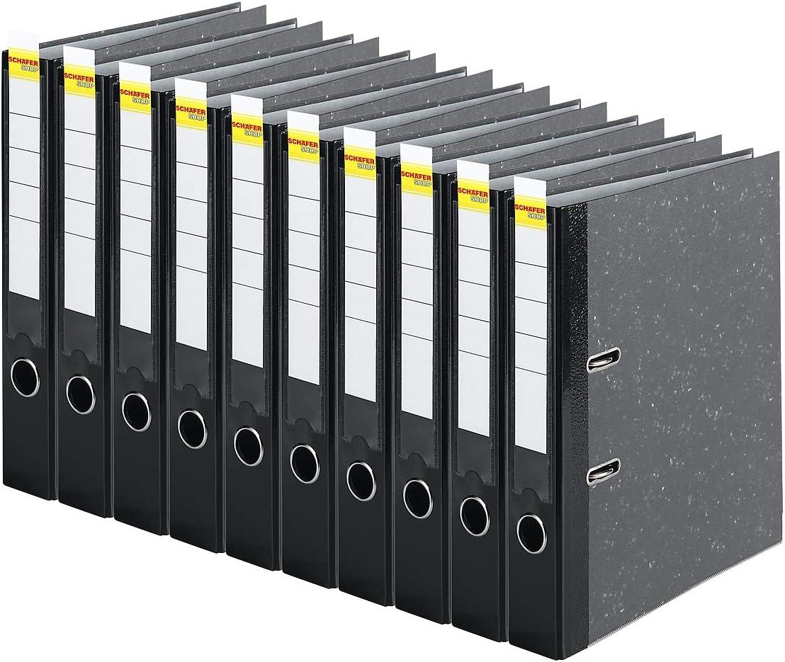 10 x Akten-Ordner A4 50 mm Schwarz Wolkenmarmor Archiv Büroordner Ringordner