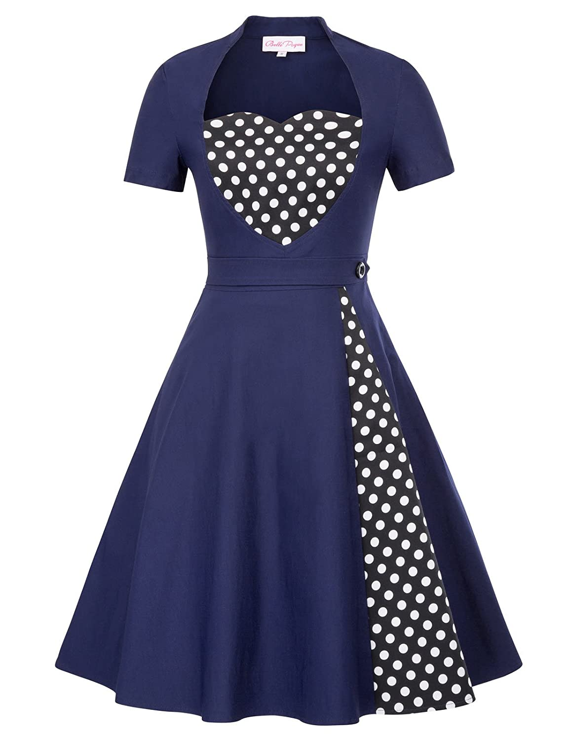 d04f1a98473f3 Rockabilly 1950s vintage style, sexy flare swing dress. High quality  stretch fabric will give you a good skin experince. Polka dots embellished  on the front ...