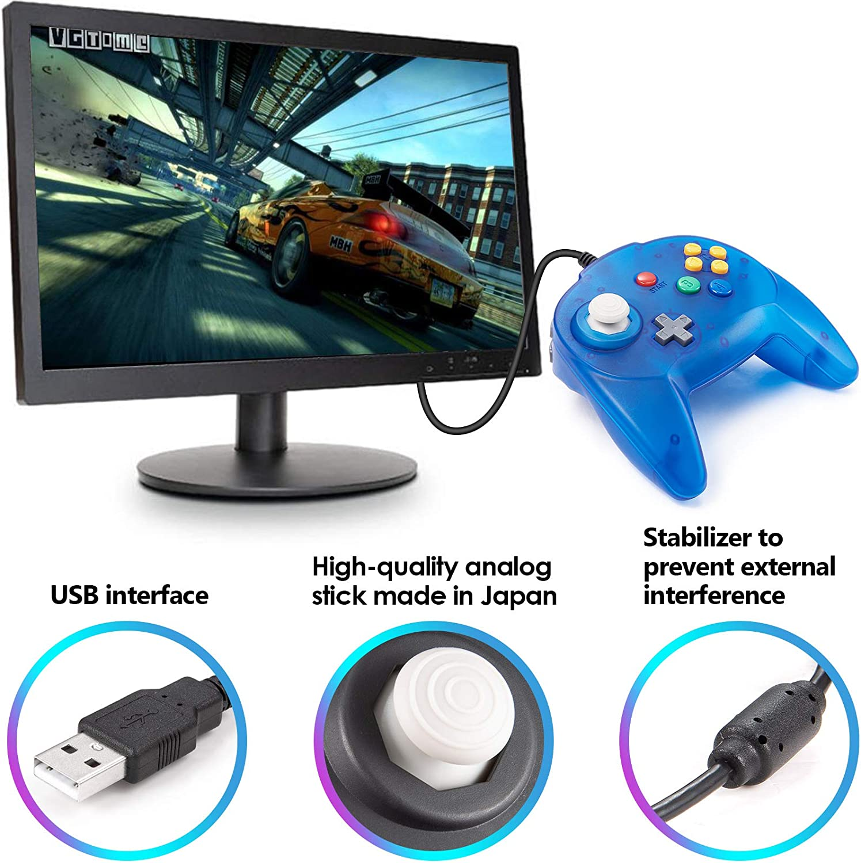 2 팩 N64 미니 USB 컨트롤러 레트로 클래식 유선 N64 64 비트 게임 업그레이드 된 조이스틱 컨트롤러 WINDOWS PC | MAC ICE BLUE&GREEN