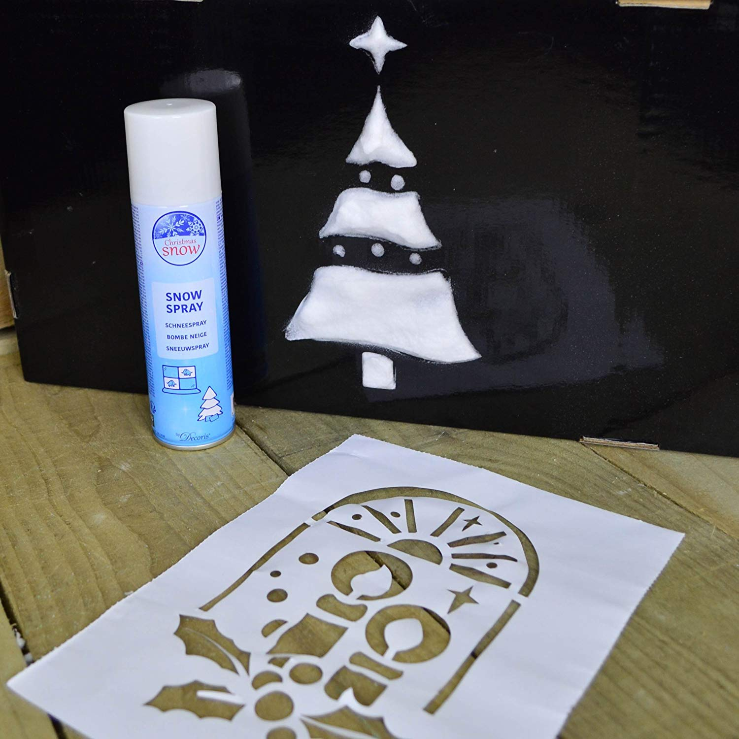 Kaemink SNOW - 400ml Spray Can of Artificial Fake Indoor Powder Snow Spray - Christmas Tree Snow and Window Snow Decoration suitable for Snow Stencils