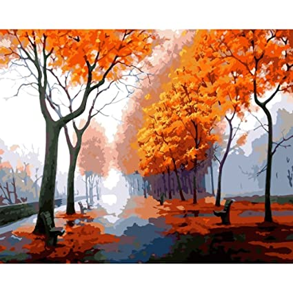Amazon com: KAYI Autumn Maple Leaves Oil Painting by Numbers