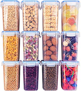 Plastic Cereal Containers 12 Pieces 1.5qt / 1.6L Include 32 Labels - BPA Free Airtight Kitchen Pantry Storage Containers - PP Plastic & Silicone Seal Ring - Dishwasher Safe - Reusable & Stackable