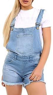 NEW DUNGAREE DENIM SHORTS Womens Size 8 10 12 14 16 Ladies DUNGAREES Jean ACID