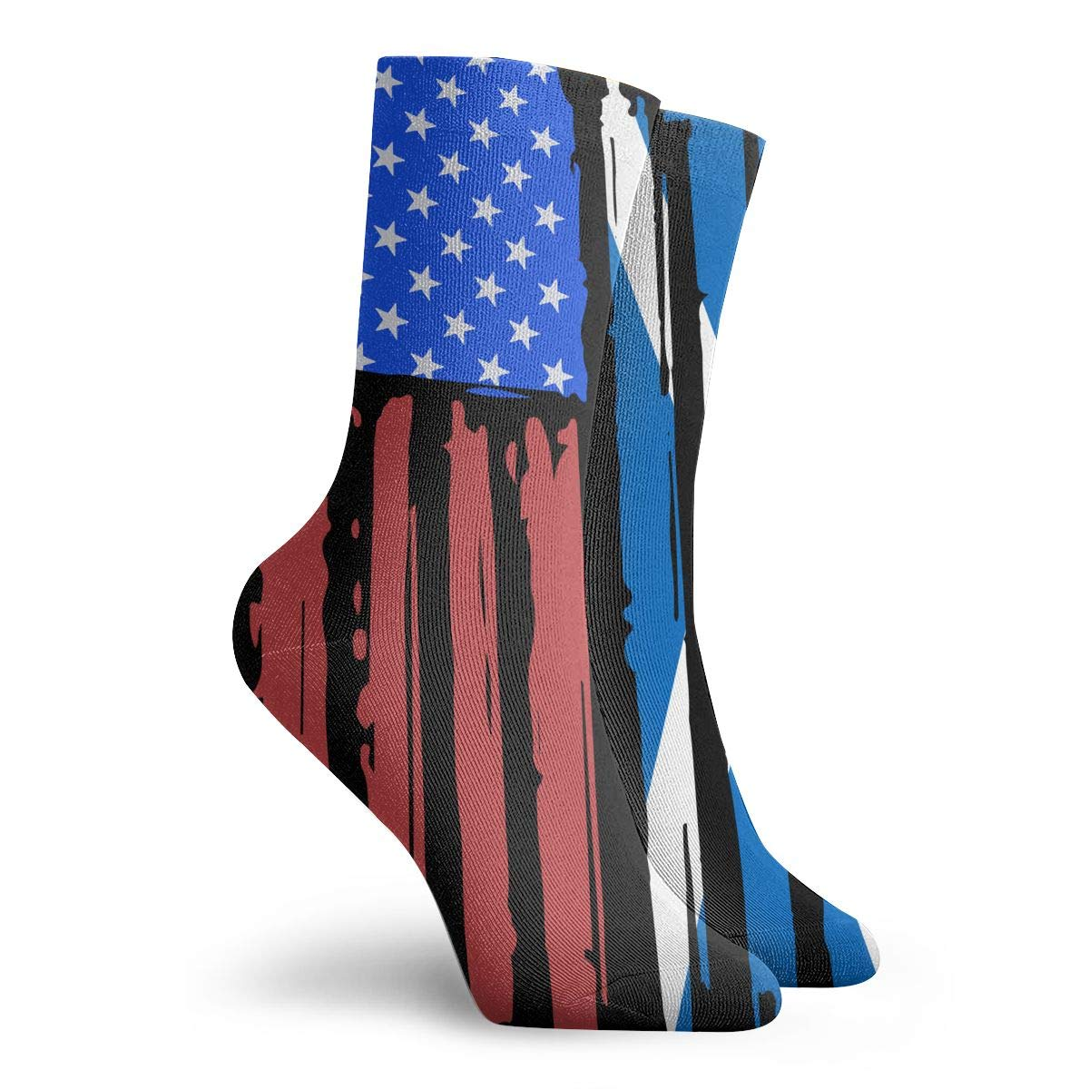Adult American Half Scotland Flag Cushion Crew Socks