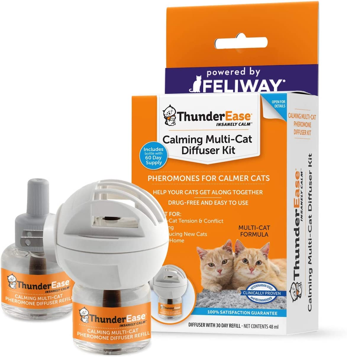 ThunderEase Multicat Calming Pheromone Diffuser Kit   Powered by FELIWAY   Reduce Cat Conflict, Tension and Fighting