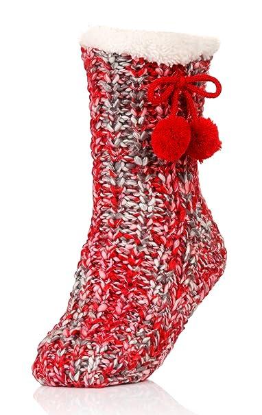 Calcetines de punto grueso para mujer; suela antideslizante, lana de Sherpa Rojo rosso Talla - M/L - 39-42: Amazon.es: Ropa y accesorios