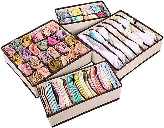 4PCS Foldable Closet Underwear Bra Sock Organizer Storage Box Drawer Divider Kit