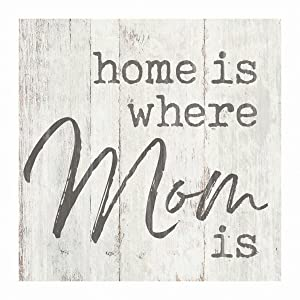 P. Graham Dunn Home is Where Mom is Whitewash 3.5 x 3.5 Inch Pine Wood Tabletop Block Sign