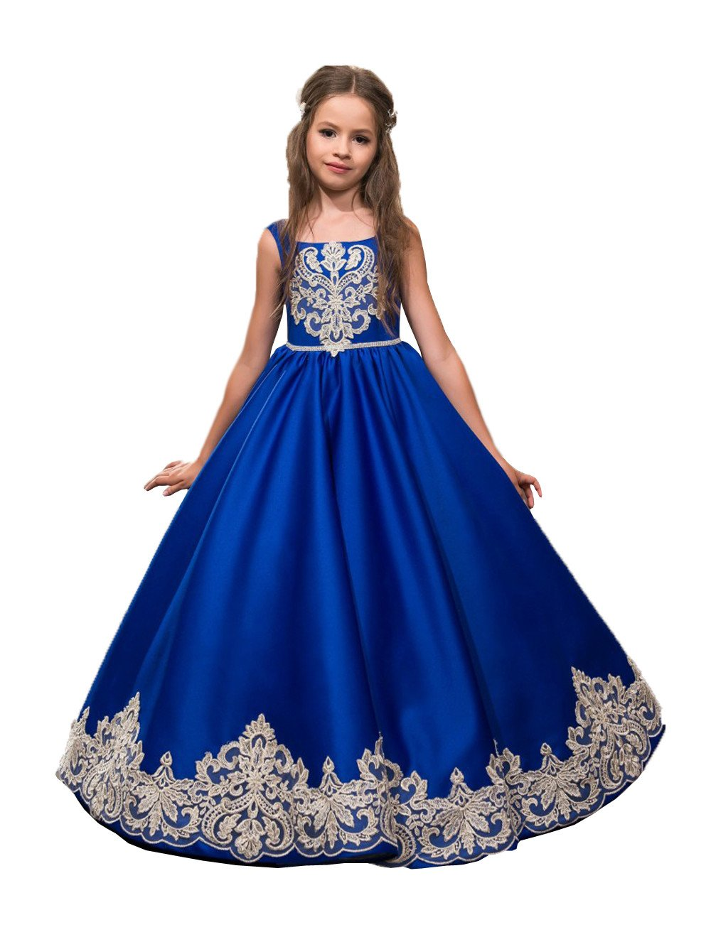 Banfvting Lovely Little Girls Pageant Dress Floor Length Appliqued Flower Girl Dress For Weddings Royal Blue Custom Made (10)
