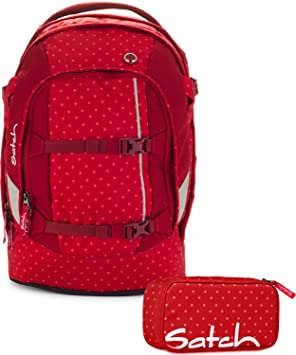 e3951137cb2c5 Satch Schulrucksack-Set Pack 2-tlg Dotty 977 rot gepunktet  Amazon ...