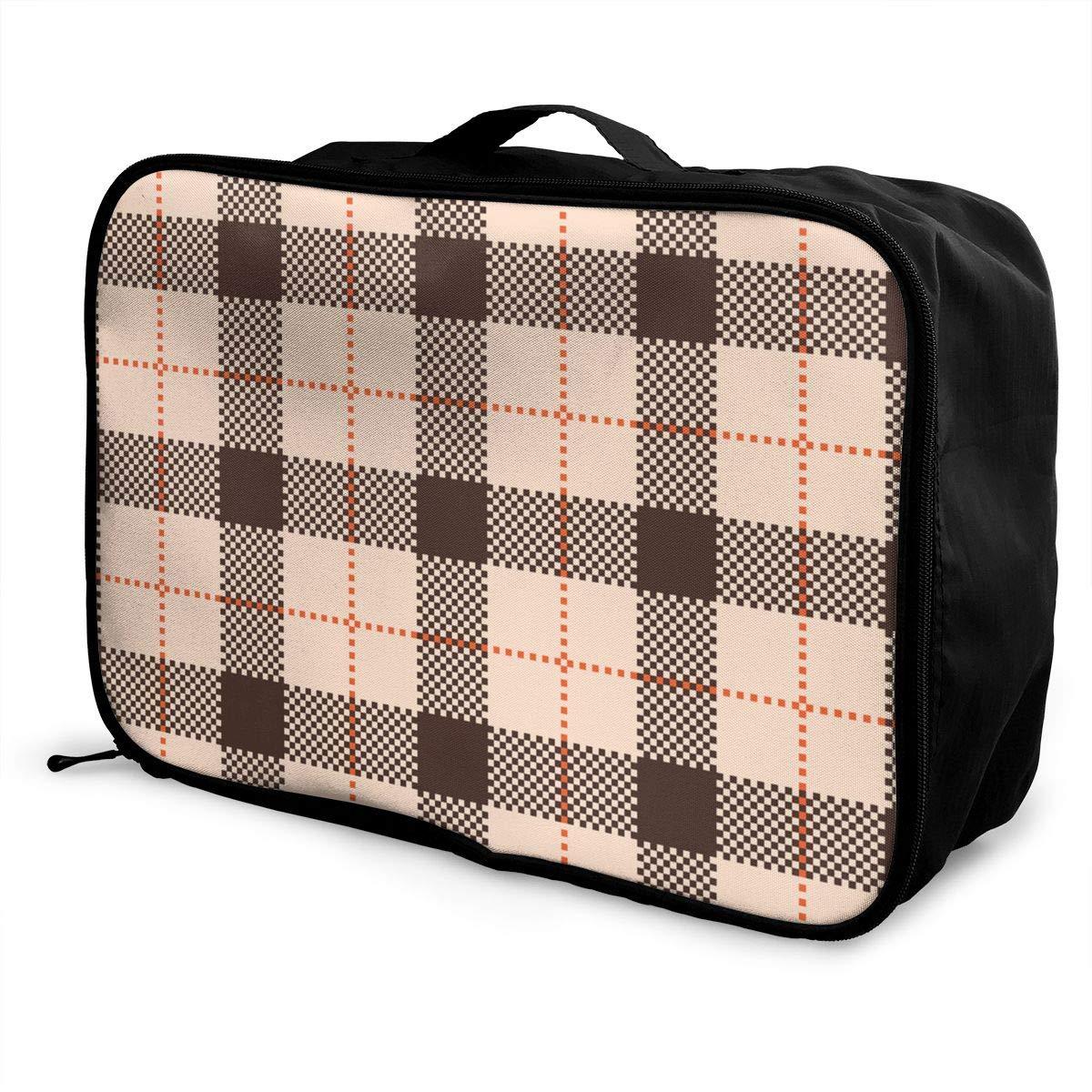 ADGAI Classic Tartan and Check Plaid Seamless Patterns Canvas Travel Weekender Bag,Fashion Custom Lightweight Large Capacity Portable Luggage Bag,Suitcase Trolley Bag