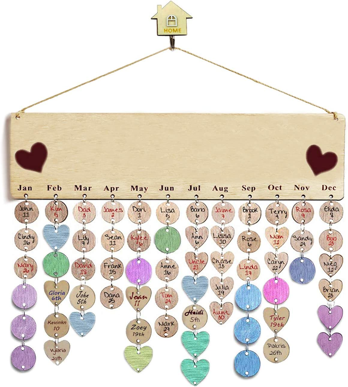 Wooden Calendar Birthday Reminder Wall Hanging Board Plaque, with Unfinished Wood Slices 100 PCS Wooden Discs,Wood Crafts for Family Friends Birthday Reminder Home Wall Decor (Theme DIY Calendar)