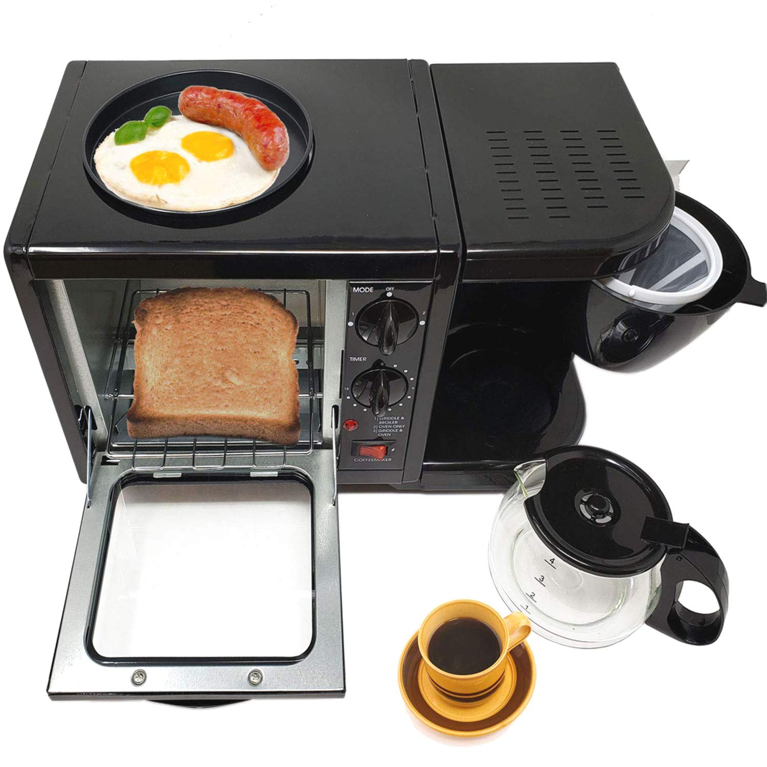 "3 in 1 Breakfast Maker Station Hub 500W 5L With( 650W 4 Cup Espresso Coffee Maker, Multi Function 500W/5L Toaster Oven, Non Stick 6"" Griddle)Removable Crumb Tray Timer Control Glass Carafe-PFOA Free,ETL Approved-Black"