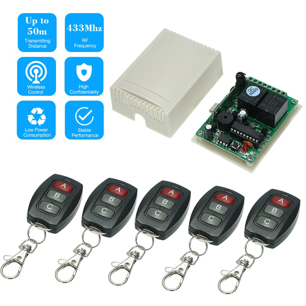 KKmoon 433Mhz DC 12V 2CH Universal 10A Relay Wireless Remote Control Switch Receiver Module and 5PCS 3 Key RF 433 Mhz Transmitter Remote Controls 1527 Chip Smart Home Automation by KKmoon (Image #1)