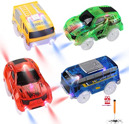 Cars For Magic Tracks Glow in the Dark Amazing 5 LED Light Up Race Car Kids Gift