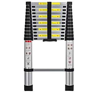 12.5 ft Aluminum Telescoping Ladder, Multi-Purpose Extension 12 Steps Ladder for Industrial Household Daily or Emergency Use, 330 lb Large Loading Capacity