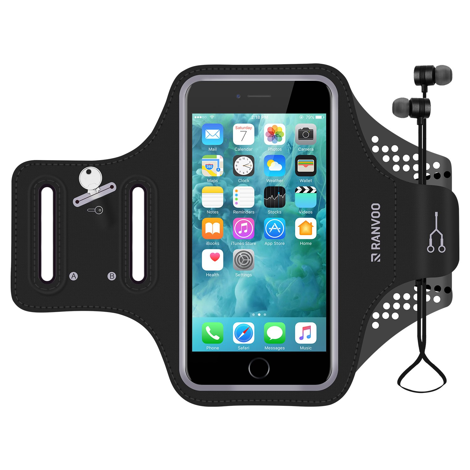 Armband for iPhone 7 Plus,8 Plus, 6s Plus, 6 Plus, RANVOO Water Resistant Jogging Running Sports Exercise Mobile Armband Case For Android iPhone Phones 5.5 Inch,Black