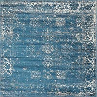 Unique Loom 3141398 Area Rug, 8' x 8', Blue