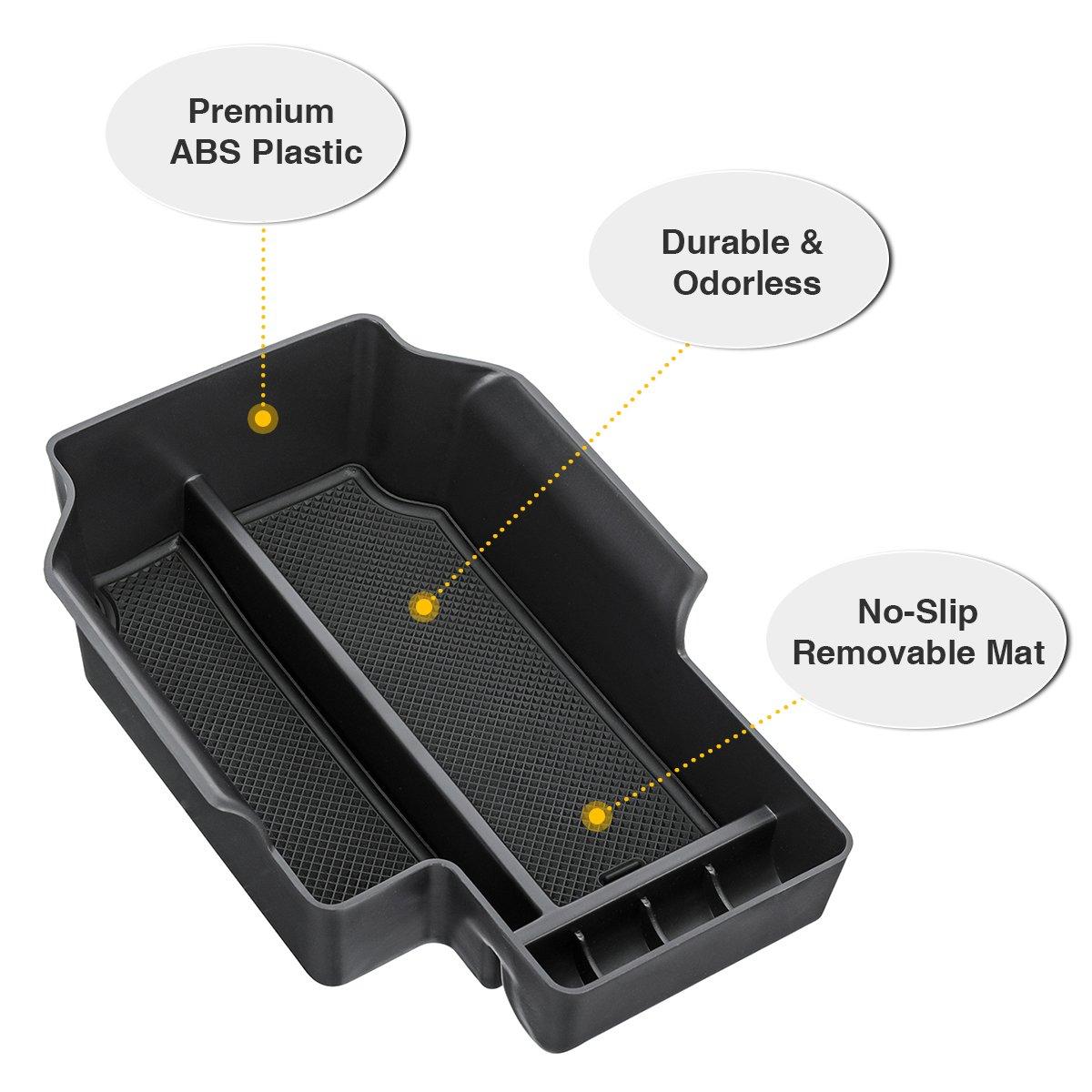 Audew Car Center Console Organizer Tray for Center Chevy Colorado GMC Canyon 2015-2018 Accessories Central Armrest Box Compartment