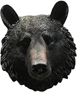 MagiDeal Realistic Faux Taxidermy Hanging Wall Bust Sculpture Rustic Home Decor Accent, Animal Head Wall Decorations for Living Room Hotel Office Bar - Bear