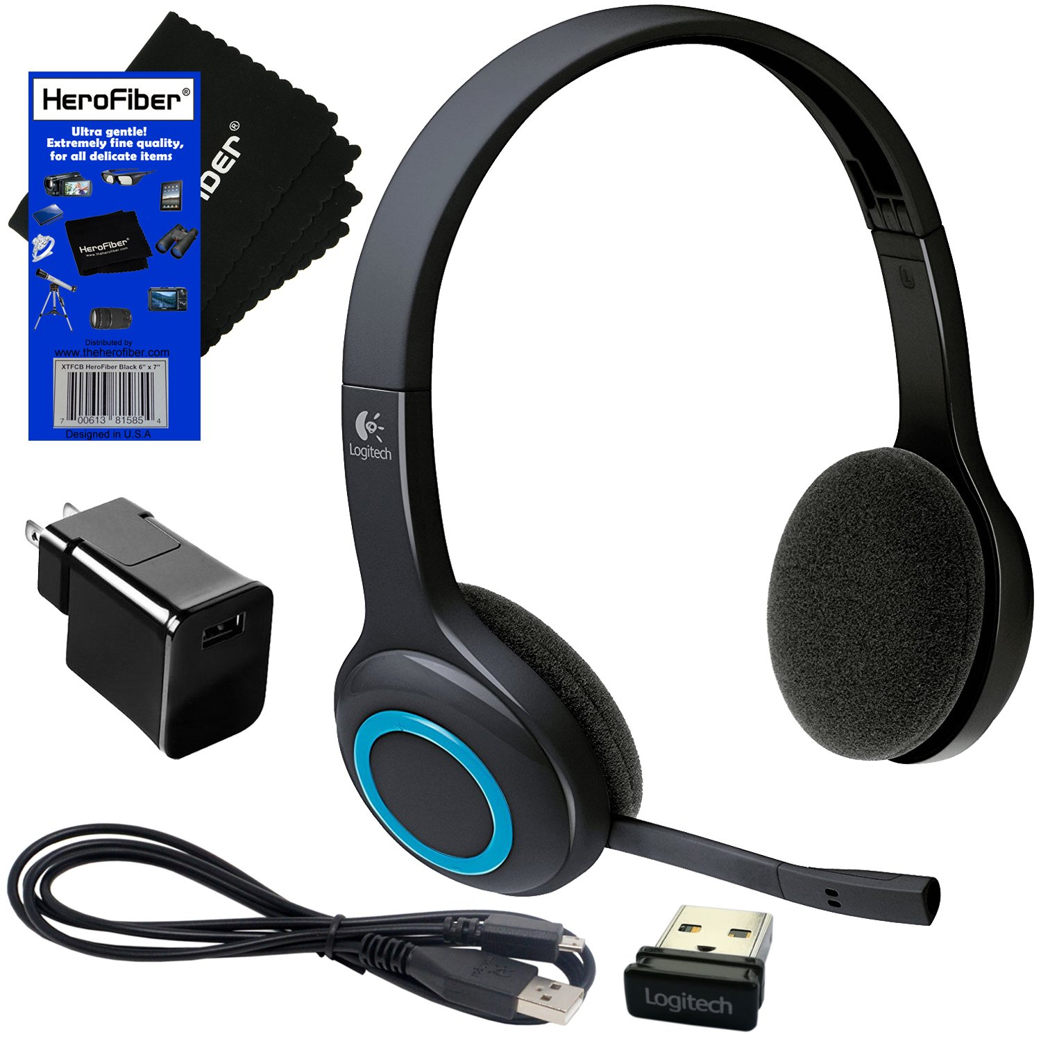 Logitech H600 Fold-and-Go wireless Headset + Receiver + USB Cable with Wall Adapter Charger + HeroFiber Ultra Gentle Cleaning Cloth by HeroFiber