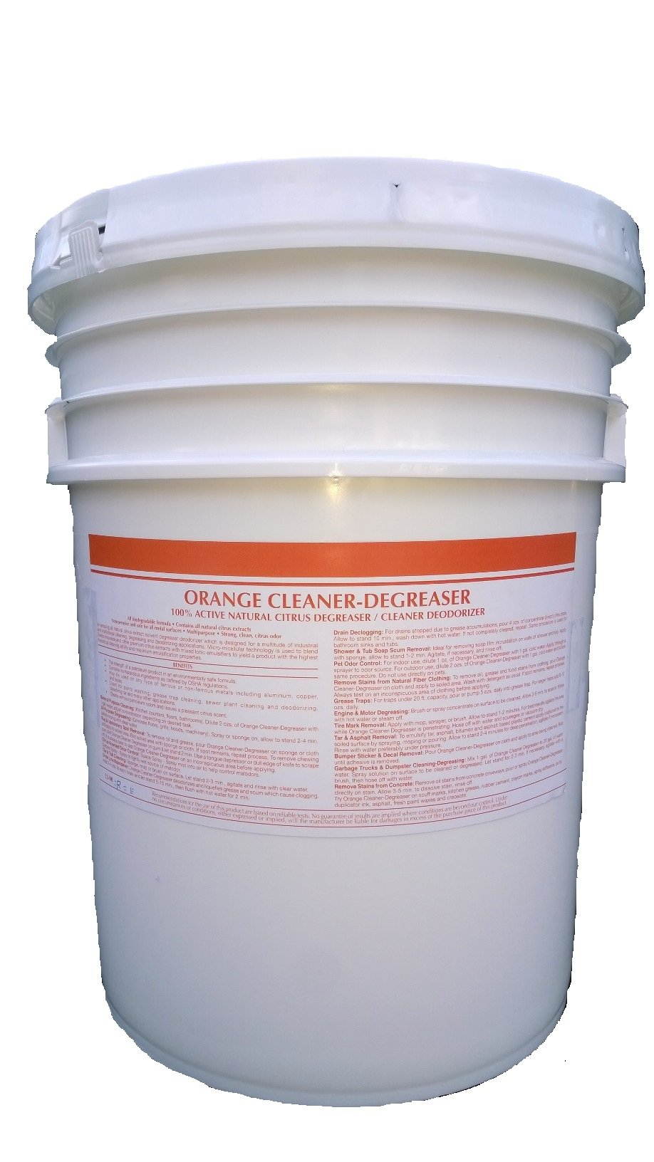 Patriot Chemical Sales 5 Gallon Pail Orange Cleaner Degreaser 100% Active Natural Citrus Degreaser Cleaner Deodorizer Concentrate Industrial Strength by Patriot Chemical Sales