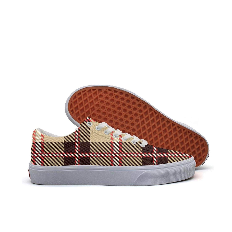 FGBLK Lace-Free Canvas Charming British Plaid Lattice Brown Beautiful Women Sneakers Comfortable Flat Shoe Skates