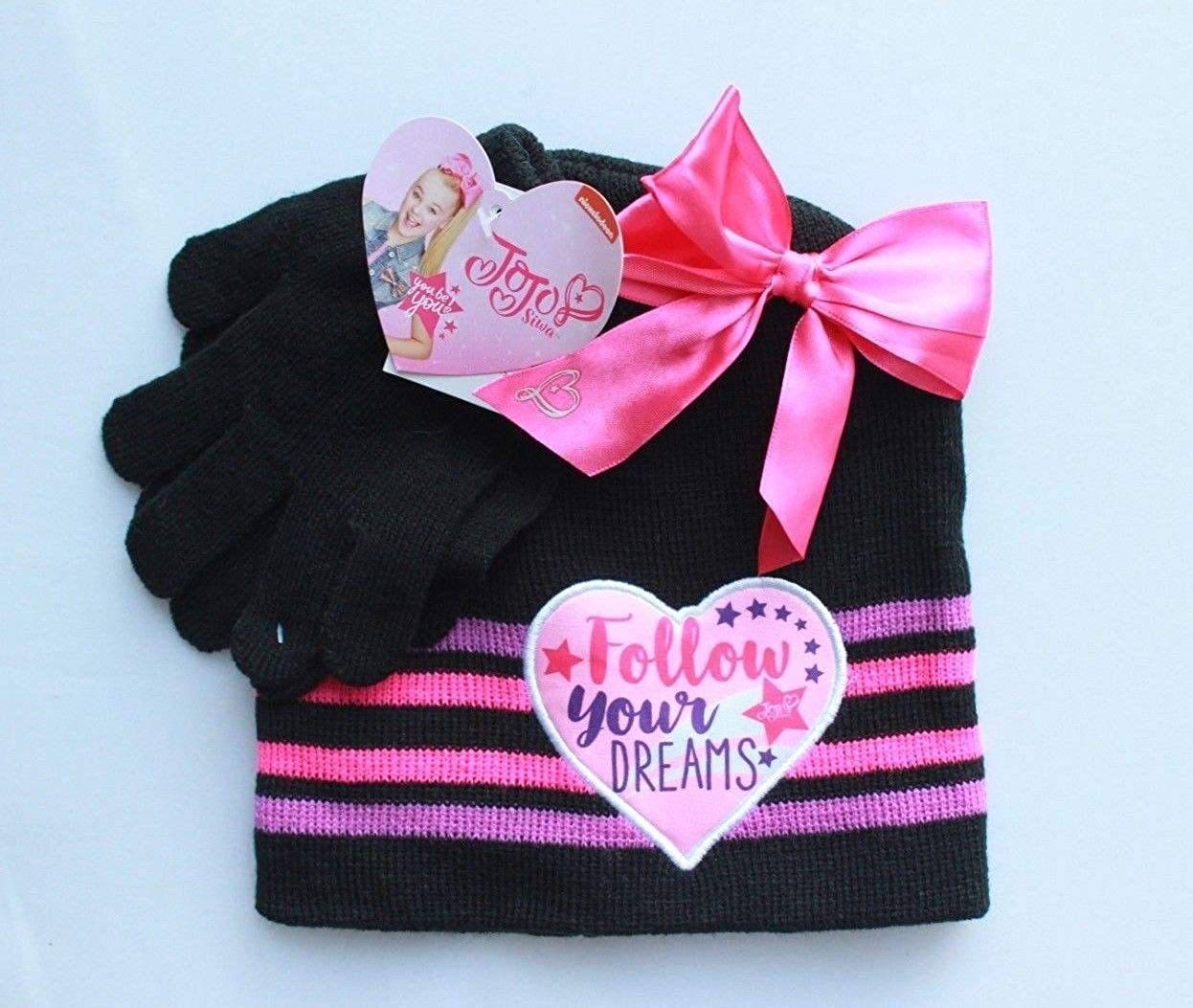 JoJo Siwa Girls 2-Piece Hat Gloves Set Nickelodeon