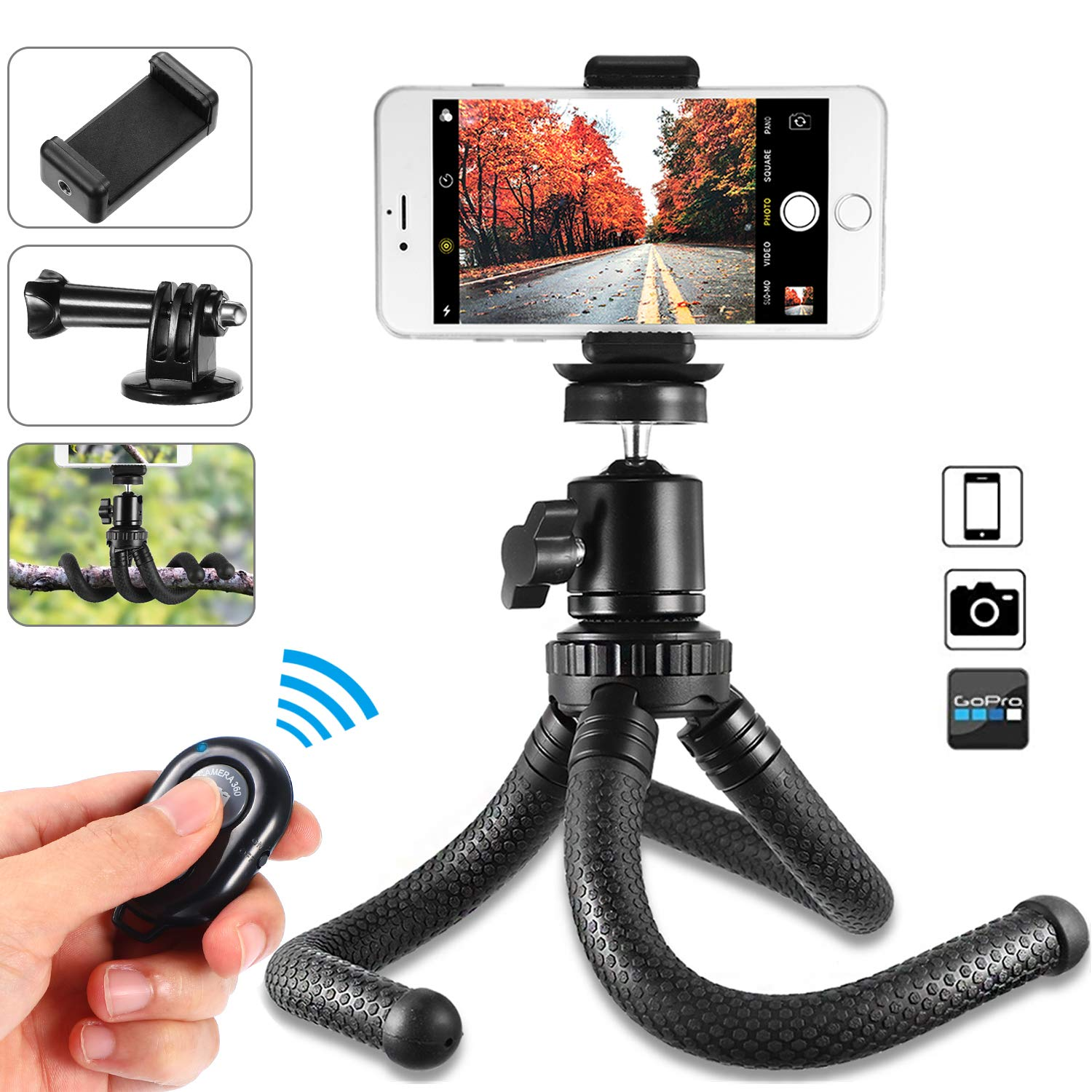 Phone Tripod, Flexible Cell Phone Tripod Stand Holder with Wireless Remote Shutter & Universal Clip 360°Rotating Mini Tripod Stand for iPhone Xs Max, Android, Samsung, Camera, Sports Camera GoPro by Shengsite